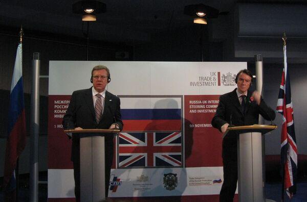 Алексей Кудрин и Питер Манделсон на пресс-конференции в Лондоне