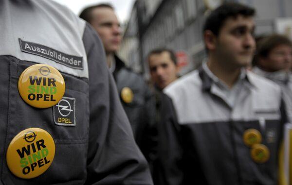 Забастовка рабочик завода Opel в Рюссельсхайме