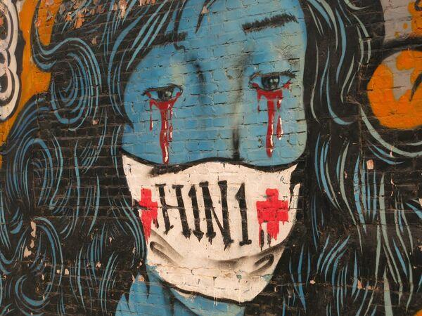 Пекин, граффити на тему гриппа H1N1