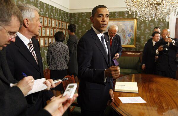 Барак Обама во время вручения Нобелевской премии мира