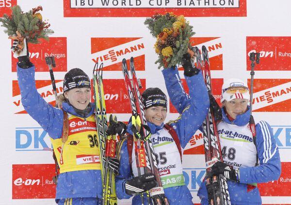 Хелена Юнссон, Анна-Карин Олофссон-Зидек, Ольга Зайцева (слева направо)