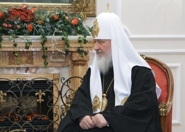 Патриарх Московский и всея Руси Кирилл на встрече с премьер-министром РФ Владимиром Путиным