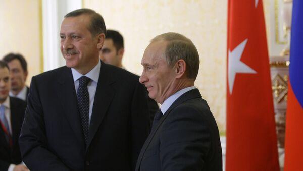 Премьер-министры России и Турции Владимир Путин и Реджеп Тайип Эрдоган. Архивное фото