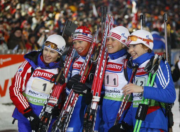 Россиянки Ольга Медведцева, Ольга Зайцева, Яна Романова и Анна Булыгина (слева направо)