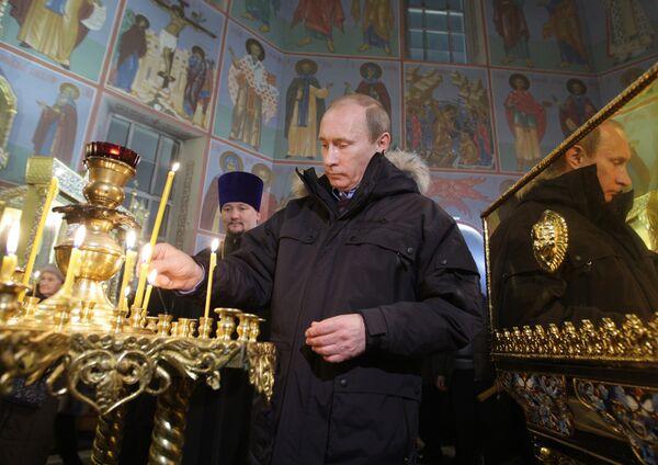 Премьер-министр РФ В.Путин посетил Покровско-Татианинский собор