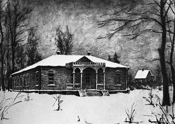 Рисунок С.Чехова Дом в усадьбе Мелихово