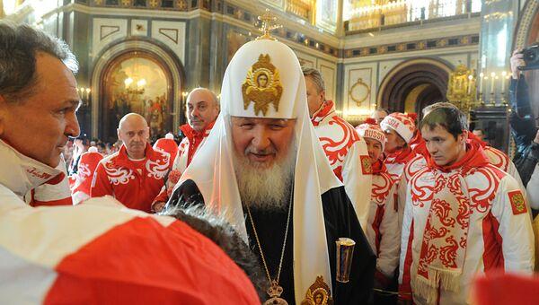 Патриарх Кирилл проводил российских олимпийцев в Ванкувер. Архив