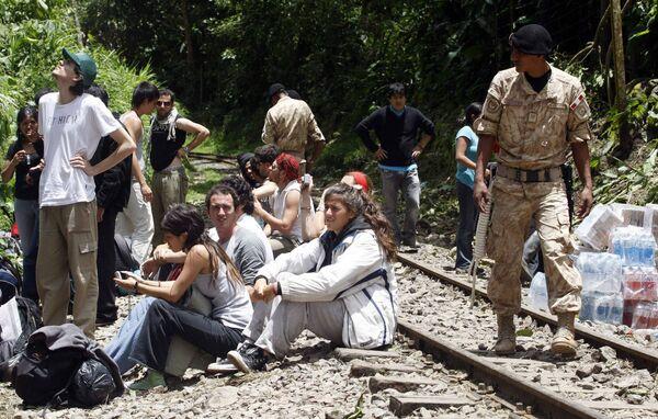 Туристы, заблокированные в горах недалеко от Мачу-Пикчу