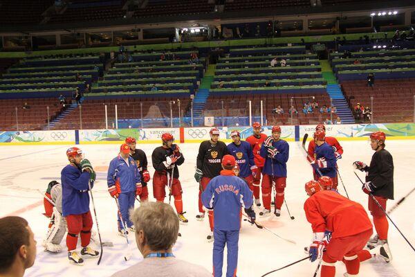 Тренировка сборной России по хоккею в Ванкувере