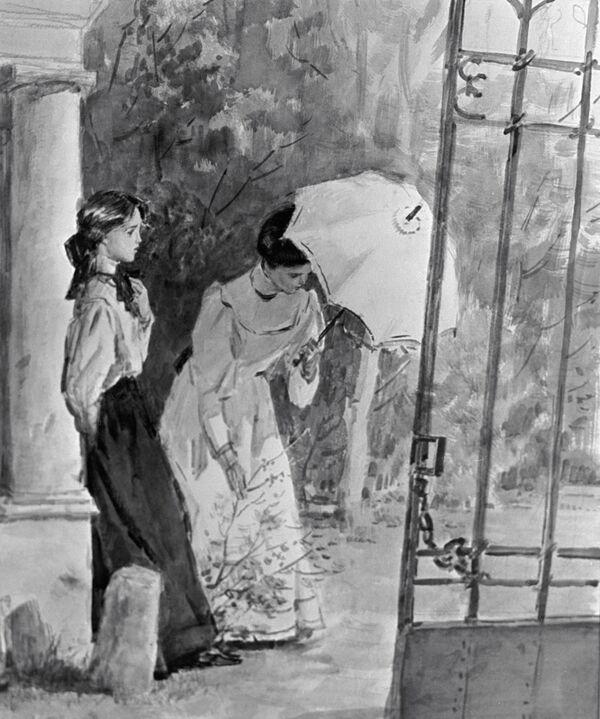 Иллюстрация Дубинского к рассказу А. П. Чехова Дом с мезонином