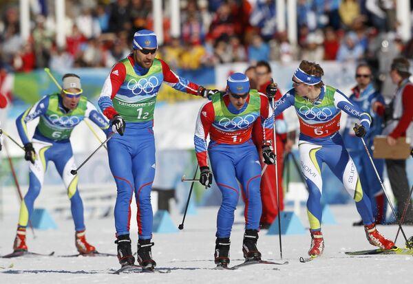 Российские лыжники Алексей Петухов и Николай Морилов
