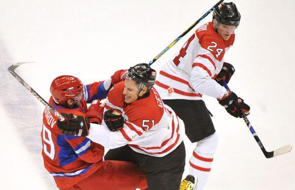 Во время четвертьфинального матчае между сборными России и Канады на ХXI зимних Олимпийских играх