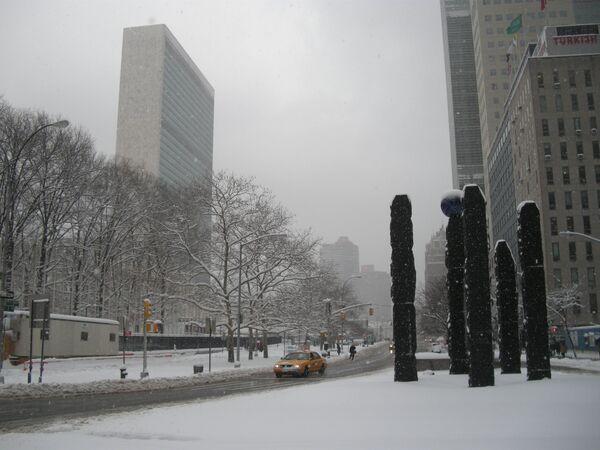 Штаб-квартира ООН прекратила работу из-за снегопада в Нью-Йорке