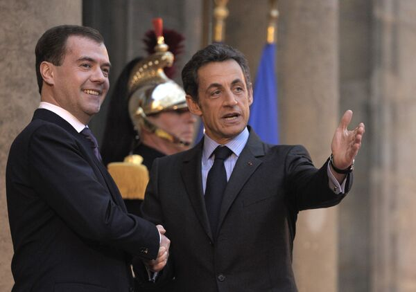 Президенты России и Франции Д.Медведев и Н.Санкози
