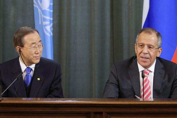 Встреча главы МИД РФ Сергея Лаврова с генсеком ООН Пан Ги Муном