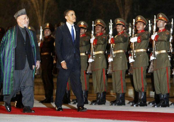 Барак Обама и Хамид Карзай во время визита президента США в Афганистан