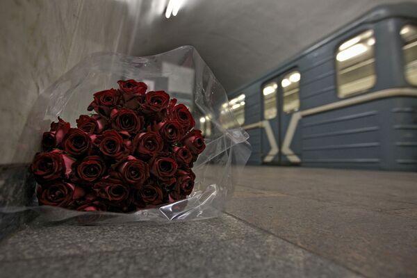 Букет цветов на станции Лубянка