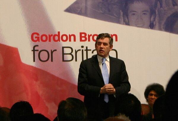 Лидер правящей Лейбористской партии, премьер-министр Великобритании Гордон Браун выступает на партийной конференции. Архив