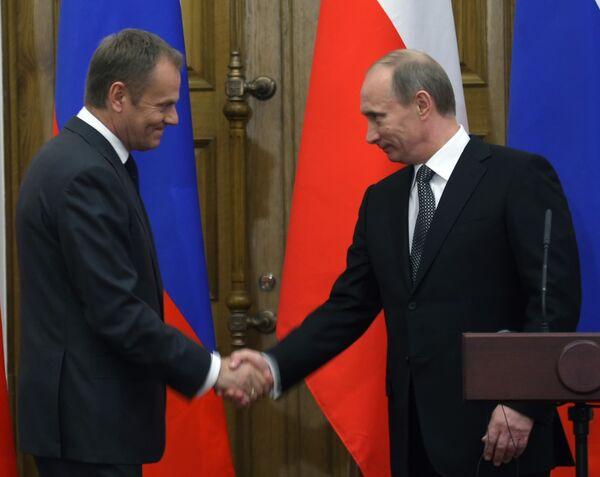 Пресс-конференция Владимира Путина и Дональда Туска