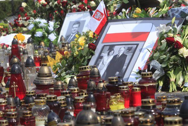 Портрет президента Польши Леха Качиньского с супругой