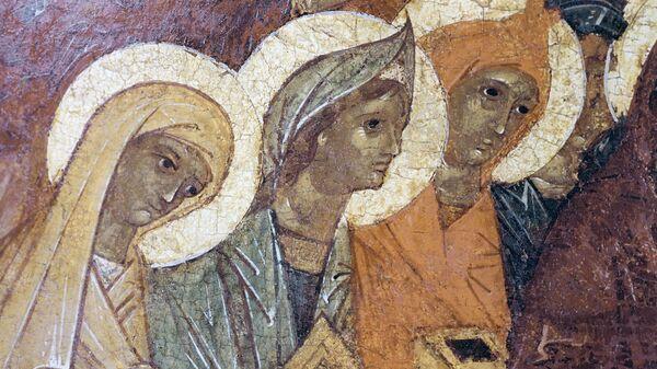 Репродукция детали иконы Жены-мироносицы у гроба господня