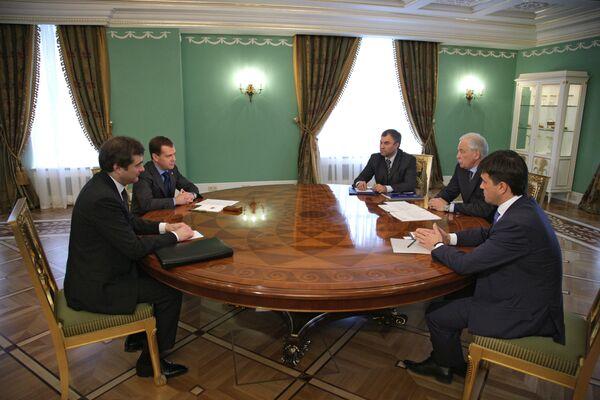 Президент РФ Дмитрий Медведев встретился с руководством партии Единая Россия