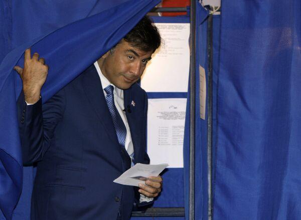 Президент Грузии Михаил Саакашвили на выборах в Грузии