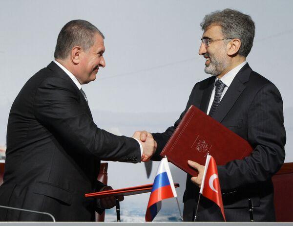 Подписание совместных документов по итогам перегоров Владимира Путина и Реджепа Тайипа Эрдогана