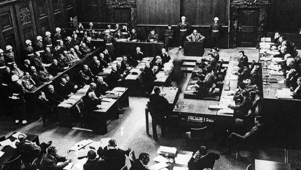 Заседание Международного военного трибунала во время Нюрнбергского процесса. Архив