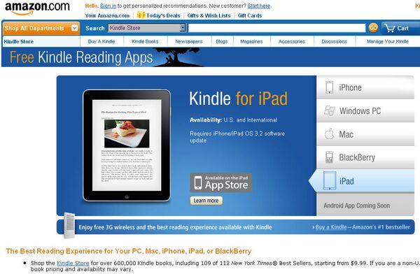 Программа Kindle для iPad
