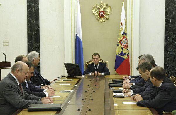 Президент РФ Д.Медведев на заседании с членами Совбеза РФ. Архив