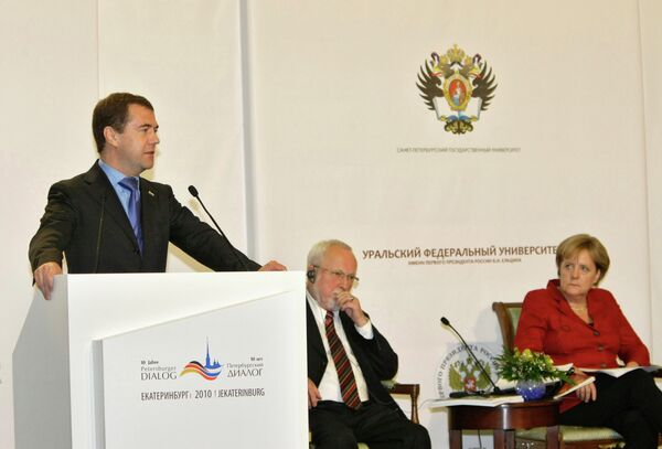 Д.Медведев и А.Меркель на российско-германском форуме Петербургский диалог в Екатеринбурге