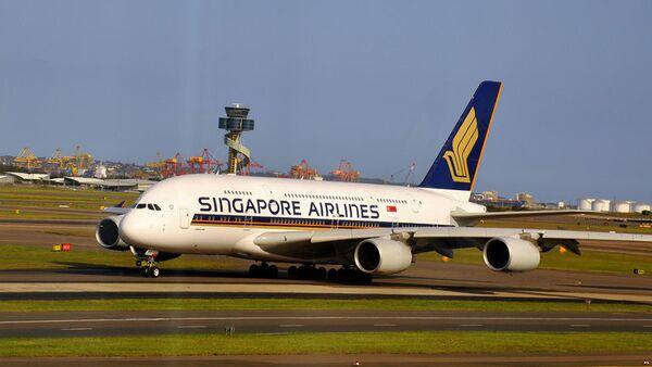Принадлежащий Singapore Airlines лайнер Airbus A380. Архивное фото