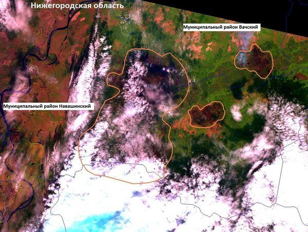 Спутниковые фотографии на очаги возгорания в Нижегородской области. Архив