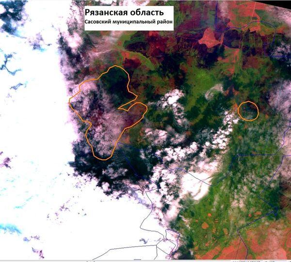 Спутниковые фотографии на очаги возгорания в Рязанской области