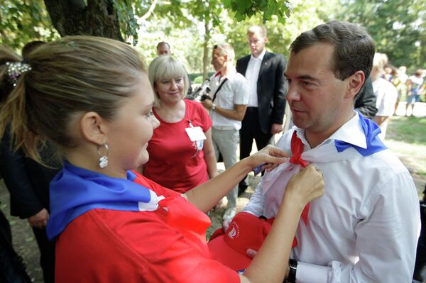 Президент РФ Д.Медведев посетил детский оздоровительный пансионат Красный десант