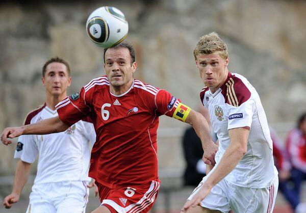 Игровой момент матча Андорра - Россия