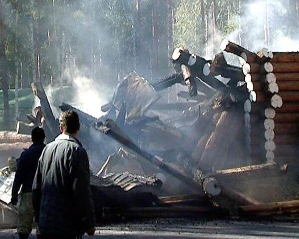 Сгорел один из семи храмов монастырского комплекса в урочище Ганина Яма