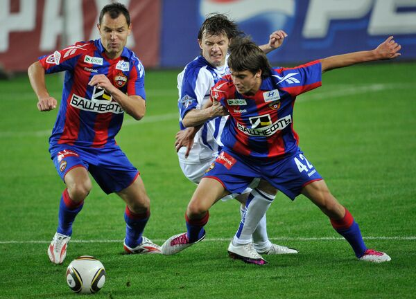 Игровой момент матча ЦСКА (Москва) - Сибирь (Новосибирск)