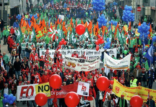 В Брюсселе проходит общеевропейская манифестация против мер жесткой экономи