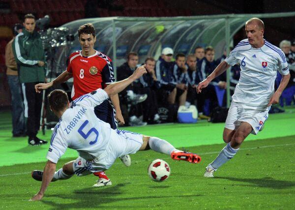 Игровой момент матча Армения - Словакия
