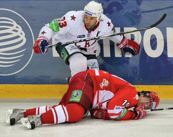 Игровой момент матча  Спартак - СКА