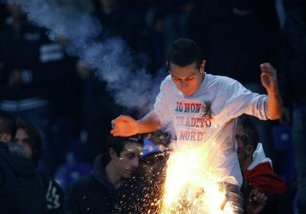 Болельщик на матче сборных Италии и Сербии