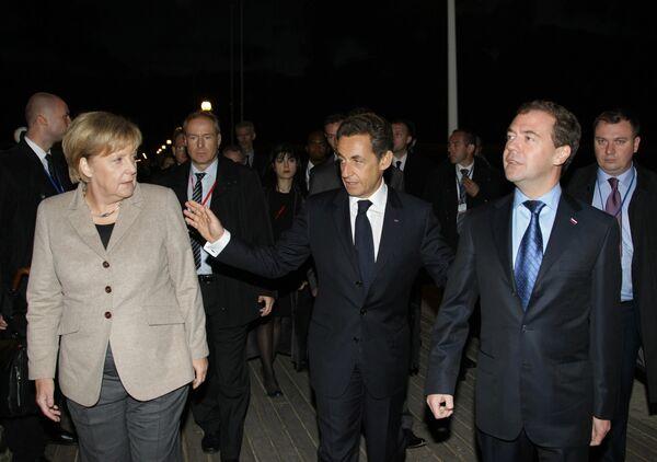 Встреча лидеров России, Франции и Германии