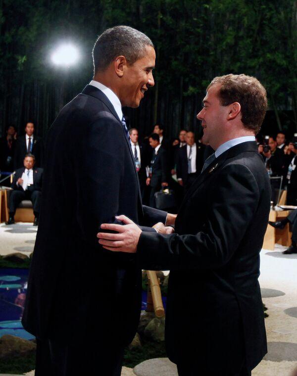 Барак Обама и Дмитрий Медведев на саммите АТЭС в Иокогаме