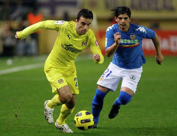 Игровой момент матча Вильяреал - Валенсия