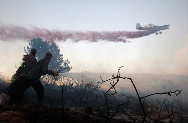 Тушение лесных пожаров в Израиле