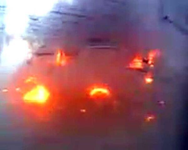 В Уфе маршрутка столкнулась с иномаркой и загорелась