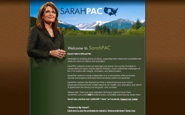 Скриншот страницы  официального сайта экс-кандидата в вице-президенты США Сары Пэйлин