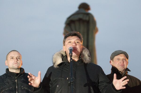 Координатор оппозиционного движения Левый фронт Сергей Удальцов на митинге